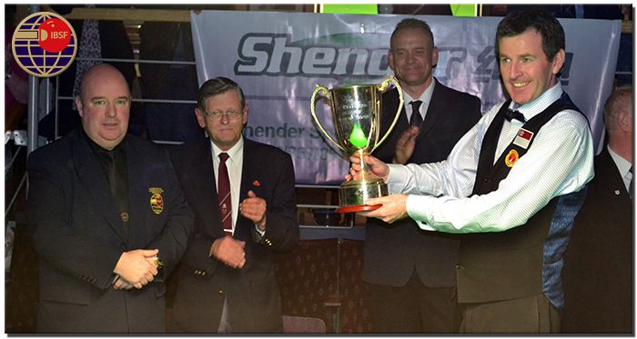 Jim Leacy (IBSF President), Eugene O'Conner (Tournament Director), Steve Lock (WBL Director) with 2013 World Billiards Champion Peter Gilchrist (Singapore)