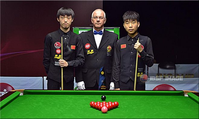 Luo Honghao, Fan Zhengyi of China with Referee in charge Bogdan Gamalet from Romania
