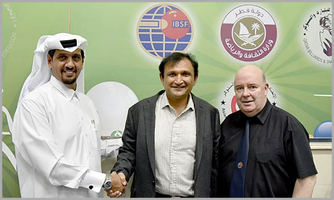 Mr. Mubarak Al-Khayarin (President IBSF), Mr. Ajeya Prabhakar (President PABSA) and Mr. Jim Leacy (Vice President (IBSF)