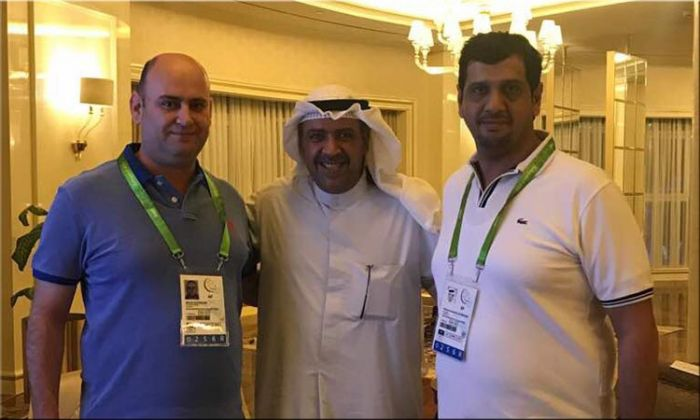 IBSF President and Treasurer with  with Shaikh Ahmad Al-Sabah, the President ANOC at OCA (Centre)